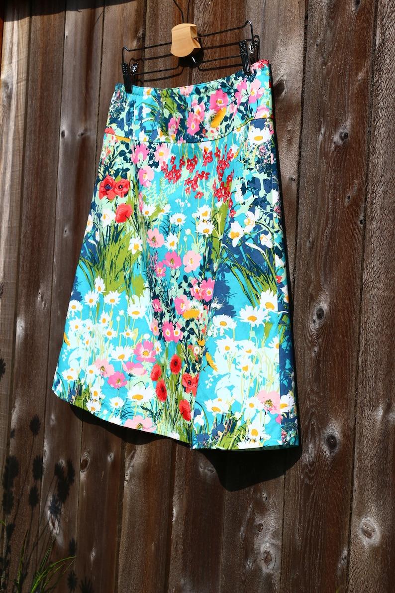 Custom made in all sizes Wildflower A-Line skirt and lengths Poppy skirt Floral skirt Skirt Simple A-line