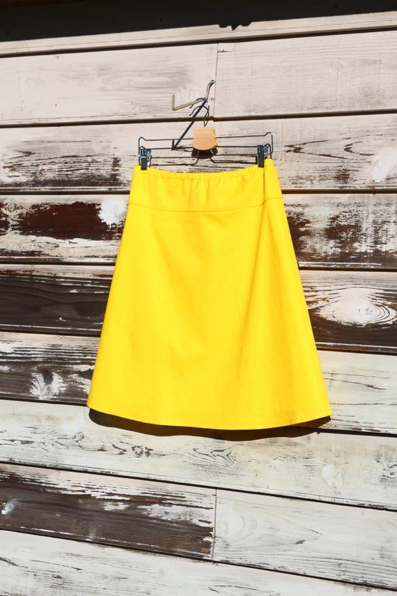 79896bfbb6c Yellow Cotton Linen Blend A-Line Skirt Classic A-Line Skirt