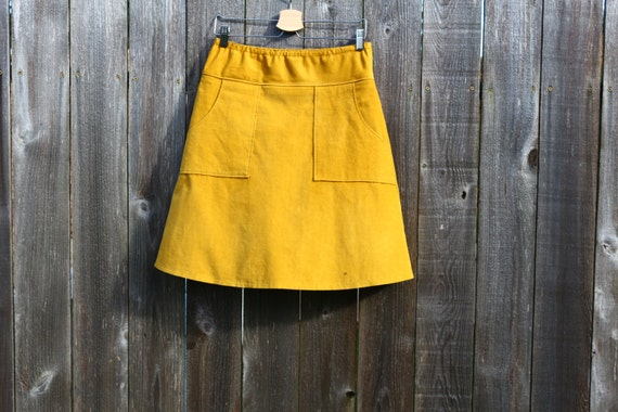 ed441580ac659f Mustard Yellow Corduroy Skirt hipster A-Line skirt Simple | Etsy