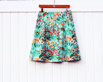 Spring Meadow A-Line Skirt, Semi Gathered Skirt, Mint Green, Yellow, Teal, NEW Amy Butler Skirt, Floral, Custom Made, All Sizes XS to Plus