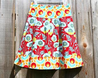 Red Poppy skirt, Joel Dewberry, Notting Hill, Pristine Poppy in Poppy, Primrose in Poppy, A-line Skirt ,size women's 2-22