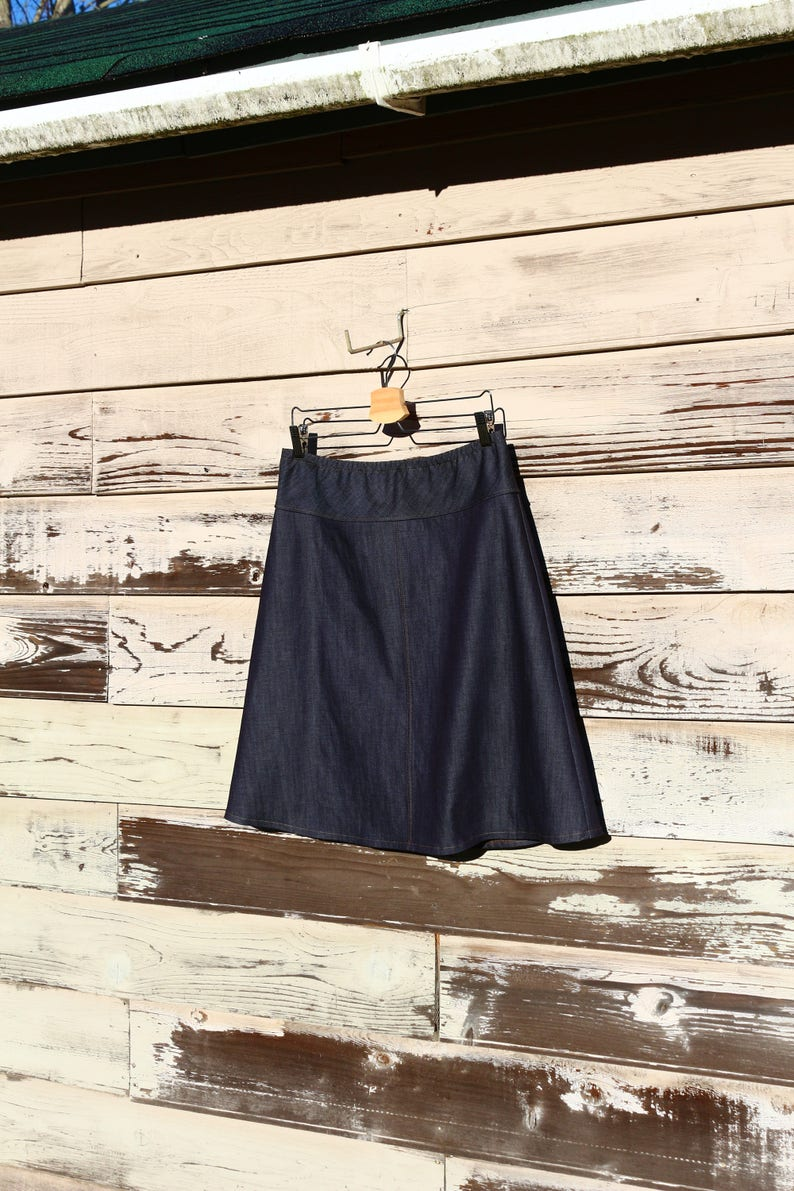 44ecb0a4f9 Dark Denim Jean skirt simple drop waist a line knee length | Etsy