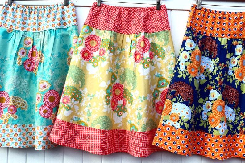 Camelia New Joel Dewberry Botanique Line Domino A-line Skirt  Hip Size women/'s 30/'/'-56/'/' Bold Bouquet Semi Gathered A-Line Skirt