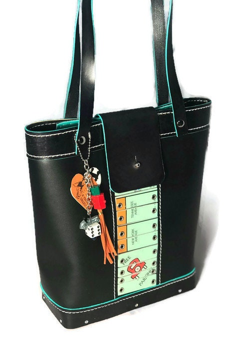 Board,Game,Bucket,Bag,from,actual,repurposed,Monopoly,Bags_And_Purses,custom_bag,vindicated,upcycle,one-of-a-kind_bag,Bucket_bag,board_game_bag,wearable_art,monopoly,rivets,leather,custom resin tiles,Wood,Eyelets