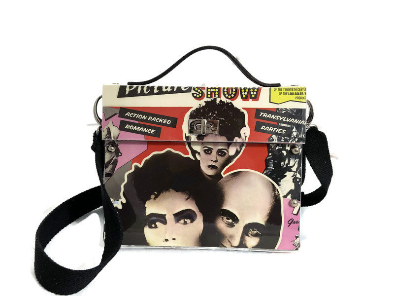 Rocky,Horror,Picture,Show,One-of-a-Kind,bag,collectible,Bags_And_Purses,Bespoke,Upcycle_Fashion,Structured_bag,1970s,rock_and_roll,crossbody_bag,Halloween,rocky_horror,Vinyl record album,rivets,fabric,leather