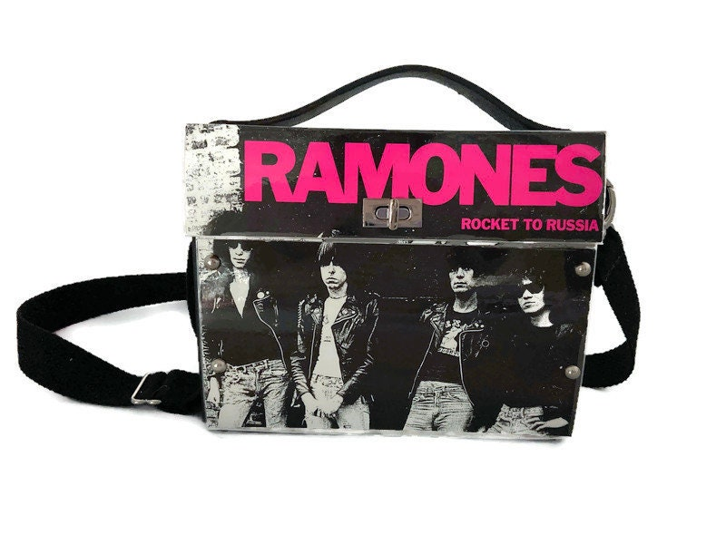 Ramones,One-of-a-Kind,Bag,from,actual,album,cover,Bags_And_Purses,Bespoke,Music_Bag,Upcycle_Fashion,Structured_bag,1970s,1980s,rock_and_roll,punk,crossbody_bag,Vinyl record album,rivets,fabric,leather