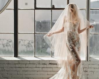 Drop Veil-Champagne Tulle|Custom Veil by Veiled Beauty|Soft Tulle Fabric-Chapel Length Veil-Boho Veil-Simple Wedding Veil- 1701