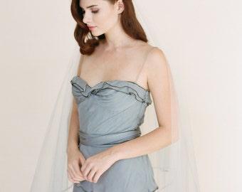 Blue Ombre Veil-Custom Veil by Veiled Beauty-Soutache Cord-DropVeil-Hand Dyed Veil-Soft Wedding Veil-Simple Wedding Veil-Boho Veil- 1711