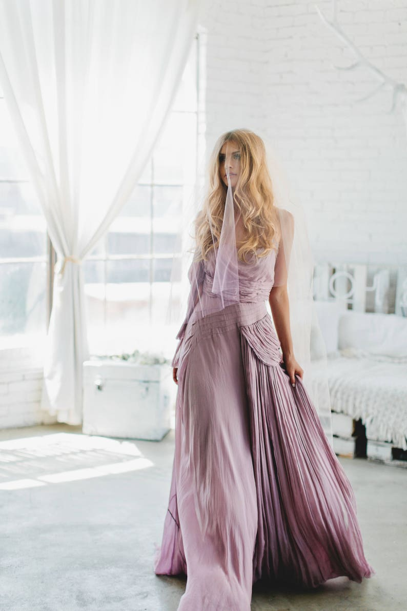 Purple Ombre Custom Veil by Veiled Beauty  Hand Dyed image 0