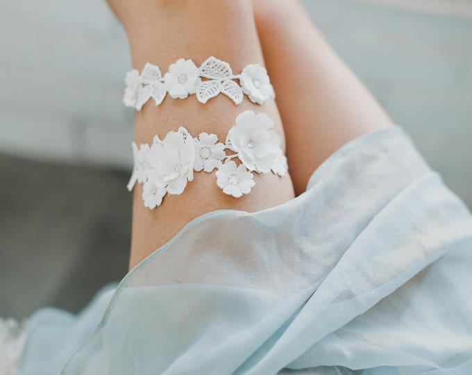 Alencon Lace Garter, Ivory Lace Garter, Veiled Beauty, Rhinestone Garter, Boho Lingerie, Vintage Lace Garter, 1920s Bride, Boho Garter, 1733