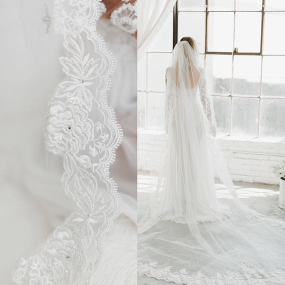Crystal Lace Edge White Ivory Cathedral Wedding Veil Long Bridal Veil Cheap Wedding Accessories Voice Bride