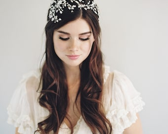 Silver Wedding Tiara-Bridal Crystal Crown-Woodland Crown-1920s Headpiece-Halo Crown-Bohemian Crown-Crystal Halo-Gatsby Headpiece - 1604