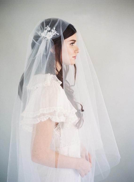 Corded Lace Cathedral Veil Ivory Veil 1550 Lace Wedding Veil Lace Bridal Veil Juliet Cap Veil 1920/'s Veil Kate Moss Cap Veil