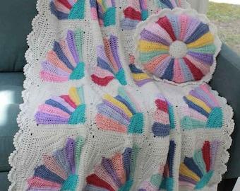 Crochet Pattern Pansy Afghan & Pillow PB039-R