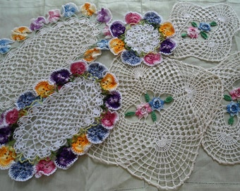 Variegated Doilies Crochet Pattern Set 1: Rose and Pansy Crochet Pattern PDF