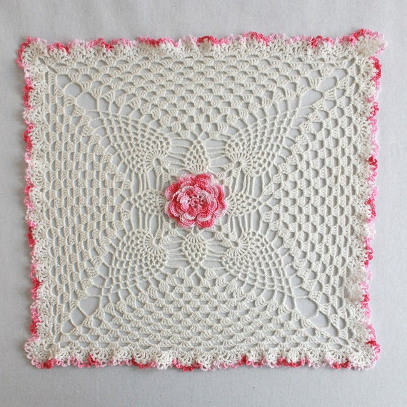 Pineapple Rose Granny Square Doily Crochet Pattern Pdf Etsy