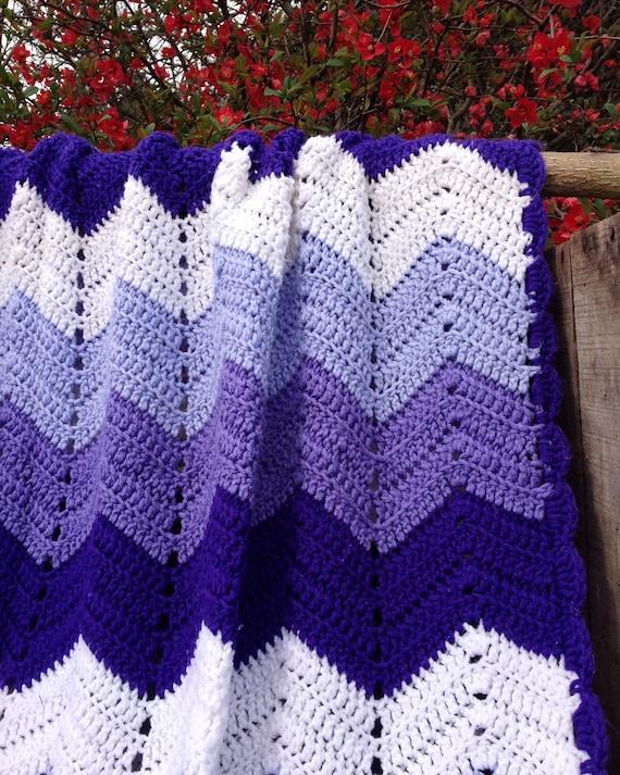 Purple Mountains Majesty Ripple Afghan Crochet Pattern Etsy