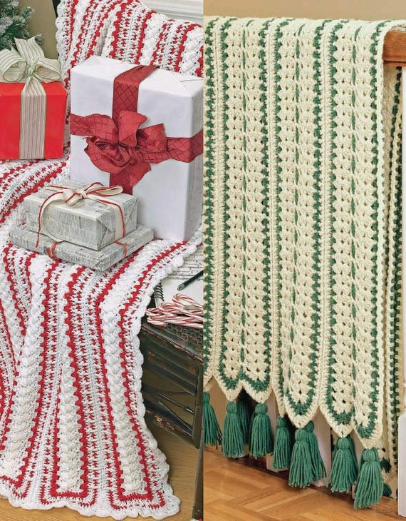 Mile A Minute Christmas Afghans Set Crochet Pattern Pdf Etsy