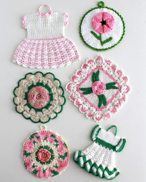 Crochet Patterns PDF Vintage Pink Floral Potholder | Etsy