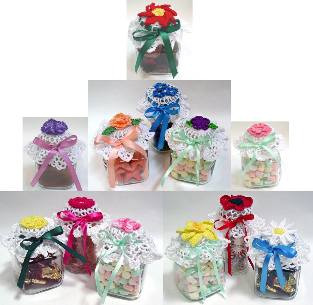 Flower Jar Lid Covers Crochet Pattern Pdf Etsy