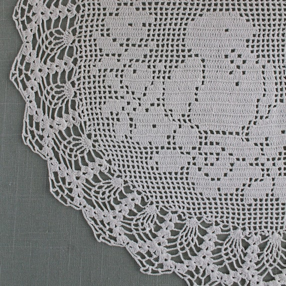 Crochet Pattern PDF Vintage Filet Chair Back and Oval Doily Birds and Roses