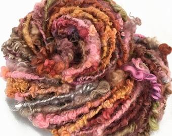 Handspun yarn, bulky tailspun, 'Pansies', 36 yds