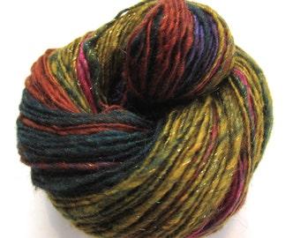 handspun yarn, 199 yds, heavy worsted weight singles, self striping, 'Acid Flashback'