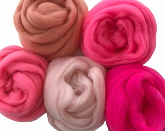 Merino Sampler Pack, Pink Tones, wool for spinning or felting, 4 ounces +.
