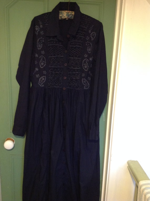 1980s hand smocked monsoon dress in navy blue
