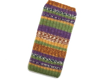Hand Knit Phone Sleeve | Phone Cozy | Phone Cover | Phone Sock | iPhone Case | Phone Pouch - Tooty Fruity Design