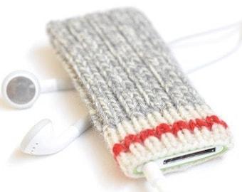 Hand Knit iPod Nano Cozy Case -  Take A Hike Design | iPod Nano 7 iPod Nano 5 iPod Nano 4