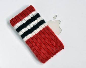 Hand Knit iPhone 4 Sleeve | Phone Cozy | Phone Cover | Phone Sock | Phone Case | Phone Pouch - Chicago Blackhawks Hockey Sock Design