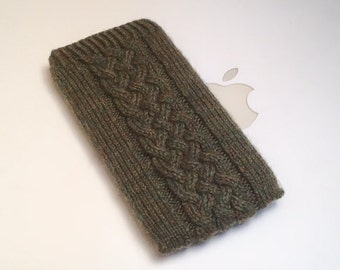 Hand Knit iPhone Sleeve | Phone Cozy | iPhone Case | Phone Sock | Phone Pouch - Irish Aran Galway Cable Design