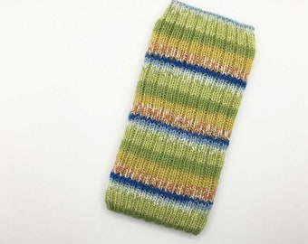 Hand Knit Phone Sleeve | Phone Cozy | Phone Cover | Phone Sock | Phone Case | Phone Pouch - Lime Sublime Design