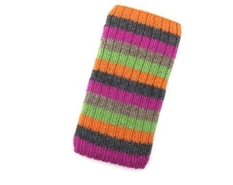 Hand Knit Phone Sleeve | Phone Cozy | Phone Cover | Phone Sock | Phone Case | Phone Pouch - Zinger Design