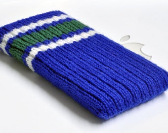 Hand Knit iPhone 5 Sleeve | Phone Cozy | Phone Cover | Phone Sock | Phone Case | Phone Pouch  - Vancouver Canucks Hockey Sock Design