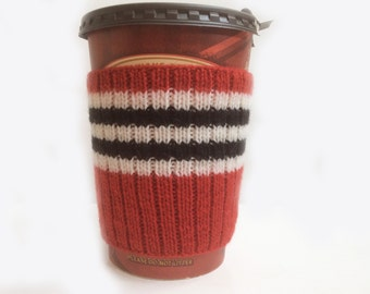 Hand Knit Chicago Blackhawks Design Eco Friendly Coffee Cup Cozy Mug Sleeve