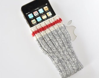 Hand Knit Phone Sleeve | Phone Cozy | Phone Cover | Phone Sock | iPhone Case | Phone Pouch - Take A Hike Sock Design