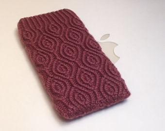 Hand Knit iPhone 5 Sleeve | Phone Cozy | Phone Cover | Phone Sock | Phone Case | Phone Pouch - Almondine Knitted Cables Design