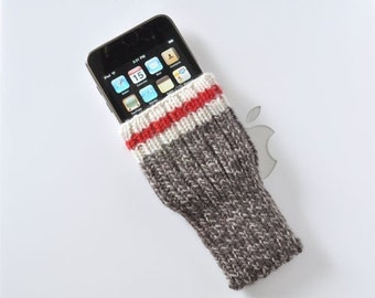 Hand Knit Phone Sleeve | Phone Cozy | Phone Cover | Phone Sock | iPhone Case | Phone Pouch - Brown Sock Monkey Design