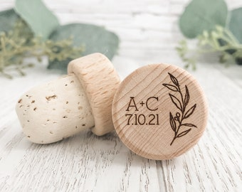 METALLIC Copper Pop-up Stopper Stand Card Wedding favors for guests in bulk Personalized Wine Stoppers with Thank You Stand Card