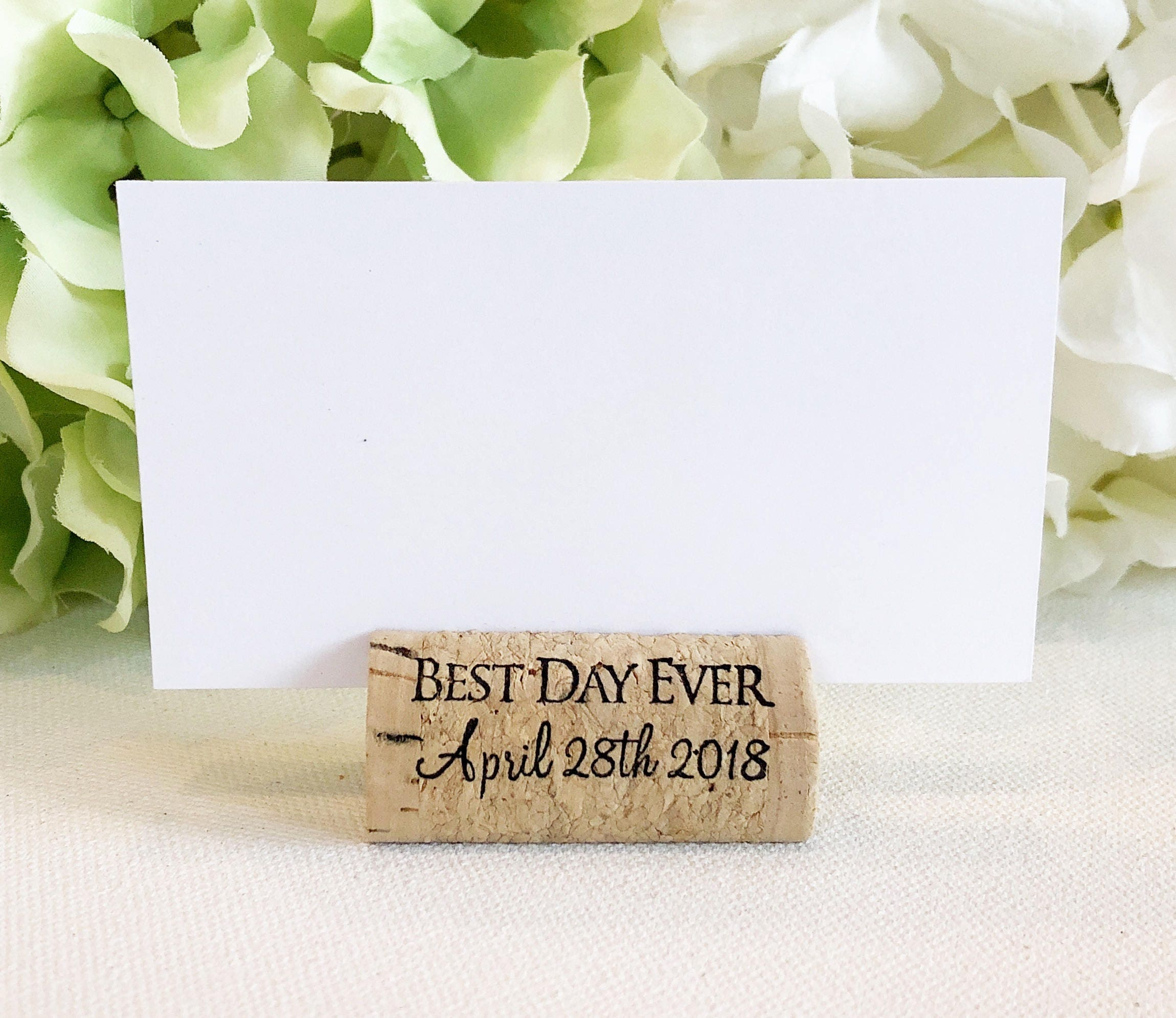 Personalized Wine Cork Place Card Holder Cork Card Holder Etsy