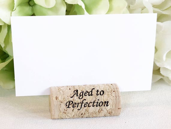 Personalized Wine Cork Place Card Holder Birthday Cork Card Etsy
