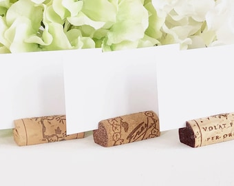 SALE!!! Wine Cork Place Card Holders, Variety Made from Real Recycled Corks, Wedding place card holders, cork card holder, table decor