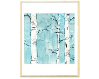 Woodland Nursery, Birch Tree Art, Watercolor Print, Forest Illustration, Forest Nursery, Landscape Art Print, 8.5x11, Woodland, Blue Art