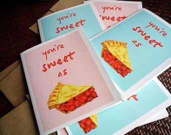 Cute Birthday Card   Cherry Pie Lover, Adorable Art, Boyfriend, Girlfriend, Choice of blue or pink
