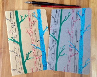 Hand Painted Moleskine, Gift for Writer, Writing Journal, Forest, Woods, Birch Trees, Large Moleskine Journal, Moleskine Notebook Journal