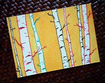 ACEO Original, ACEO Painting, Woodland, Birch Trees, ACEO Art, aceo drawing, aceo card, Tiny Art, Miniature Art, Forest, Affordable Art