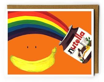 Nutella Birthday Card   Fun Card for BFF, Nutella Lover, Cute Birthday Card, Rainbow