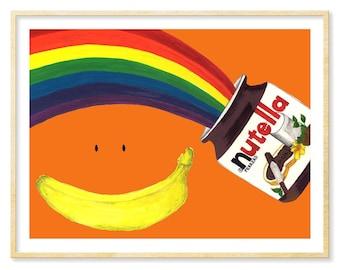 Nutella Whimsical Art, Best Friend Birthday Gift, 8.5x11 or 11x14 Print